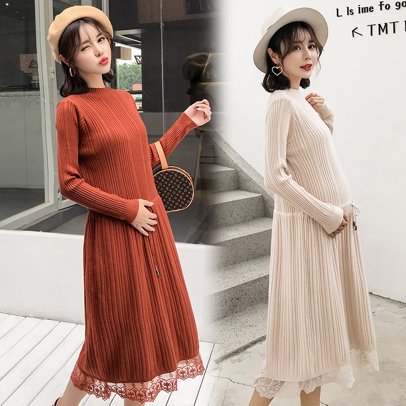 Autumn Winter Maternity Loose Knit Dress Long Sweater Dresses Women Pregnant Elegant Dress Clothes H295 winter solid color knitted tunic dresses pregnant woman bottoming knitwear long sleeve wool loose dress women clothes pullovers