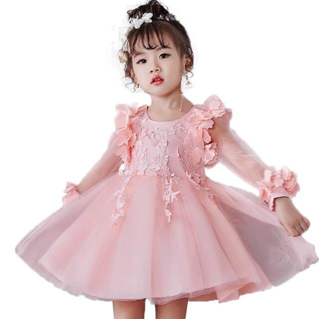 2800b9b491d Платье для девочек осень-зима Детские платья с длинными рукавами кружевное  платье с цветочным рисунком