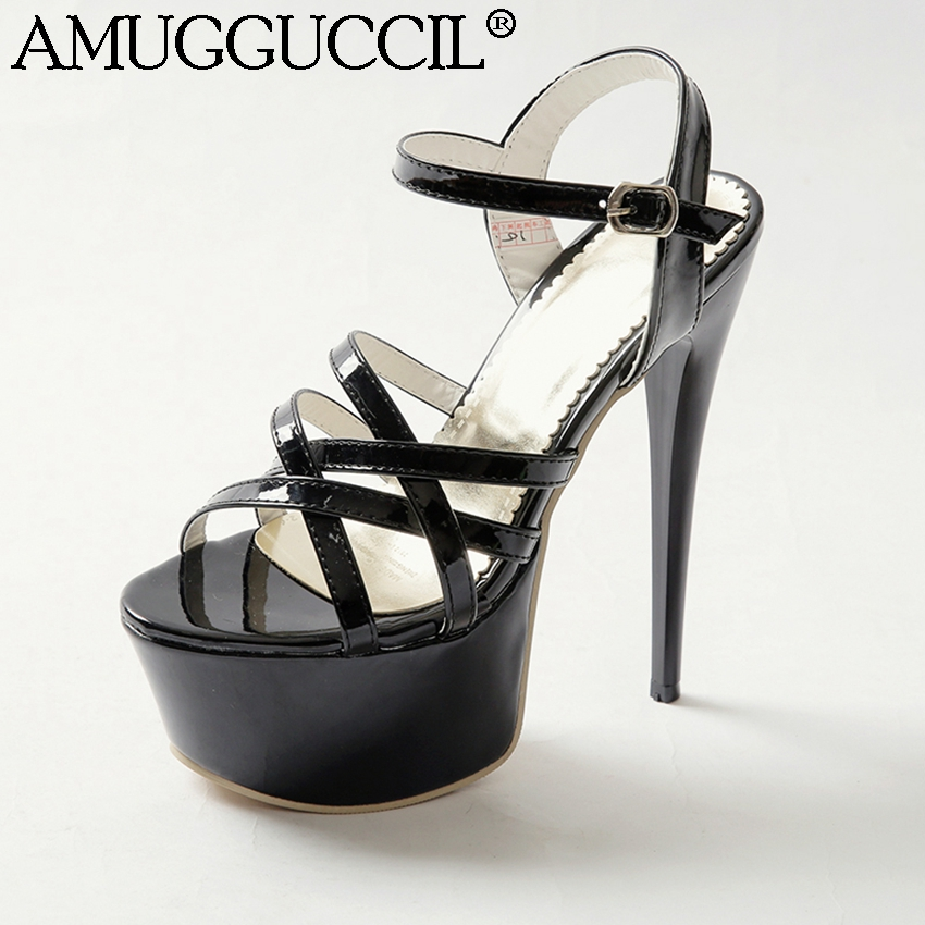 2018 New Plus Big Size 31-48 Black White Red Sexy Party Wedding 16CM High Heel Platform Summer Female Lady Women Sandals L760 2018 new plus big size 33 44 black red peep toe fashion sexy high heel platform spring autumn lady shoes women pumps d1103