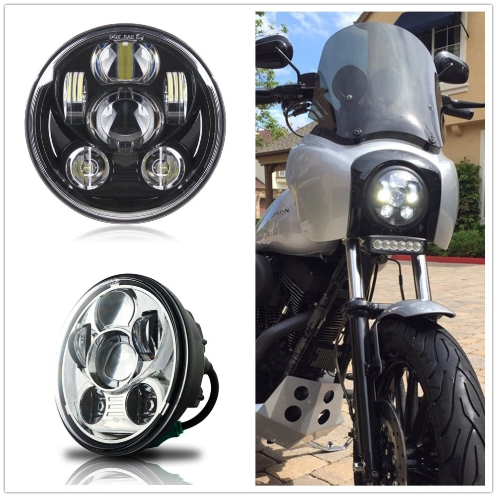 "5-3//4/"" 5.75/"" LED Headlight Projector Black Sealed for Yamaha V-Star XVS 650 950"