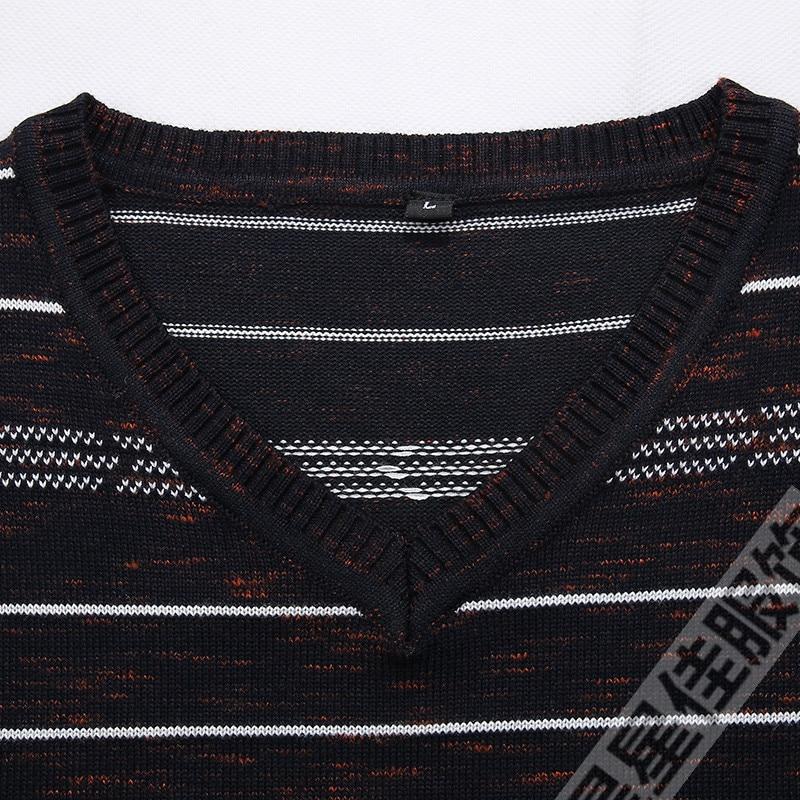 Плюс 8XL 6XL 5XL новый осенний модный мужской пуловер Свитера с длинным рукавом v образным вырезом полосатый вязаный кашемировый Рождественский свитер для мужчин - 4