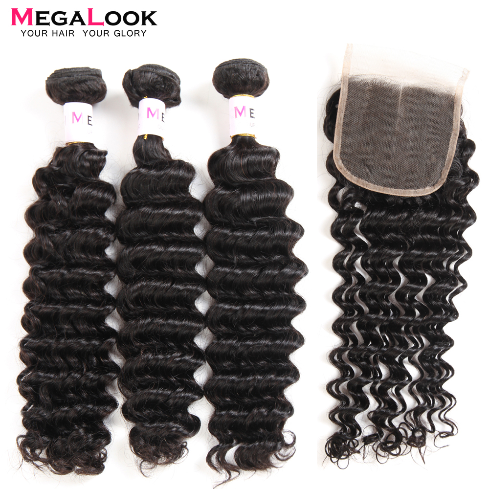 Megalook Peruvian Deep Wave Hair Bundles with Closure 3pcs 100 Remy Human Hair Bundles with Lace