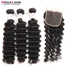 Перуанские волосы глубокая волна пряди с закрытием 3 шт. Remy Megalook человеческие пряди волос с закрытием