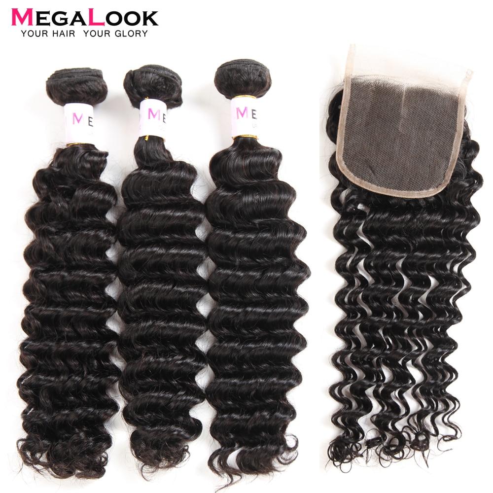 Peruvian Hair Deep Wave Bundles with Closure 3 pcs 100% Remy Megalook Human Hair Bundles With Closure-in 3/4 Bundles with Closure from Hair Extensions & Wigs    1