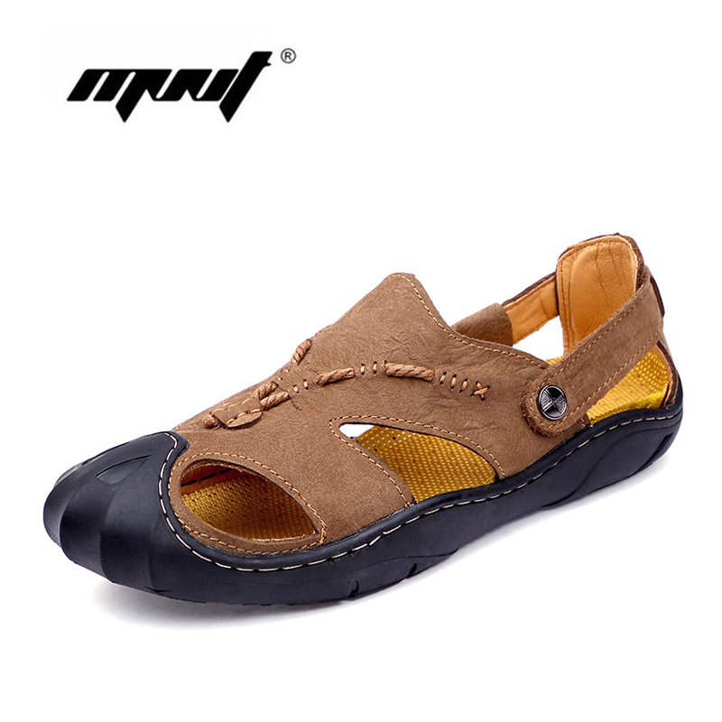 Natural Leather Men Sandals Waterproof Summer Shoes Handmade Comfortable Fisherman Shoes Men Beach Casual Sandals