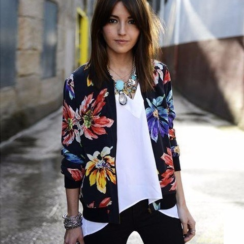 Clearance! SALE Women Jackets 2017 Autumn Winter New Fashion Ladies Floral Printed Patchwork Zipper Casual Jackets Outwear JK002 Lahore