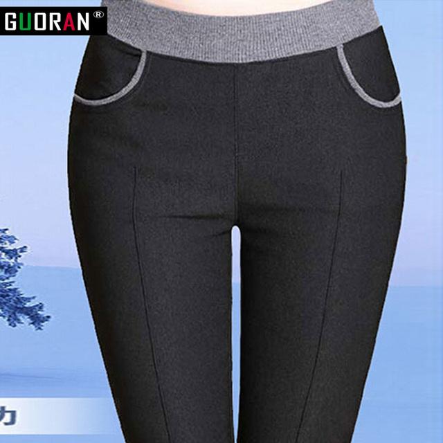 Más tamaño 6XL 2016 de Invierno cálido pantalones de trabajo de oficina mujeres damas de algodón de alta cintura del estiramiento lápiz pantalones femeninos de Cintura Alta pantalones