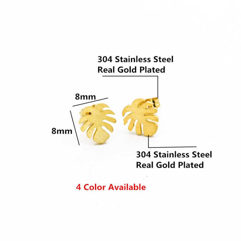 ارتفع الذهب اللون Monstera أوراق أقراط للنساء البوهيمي نبات استوائي الخشب Brincos الفولاذ الصلب Bff هدية 2018