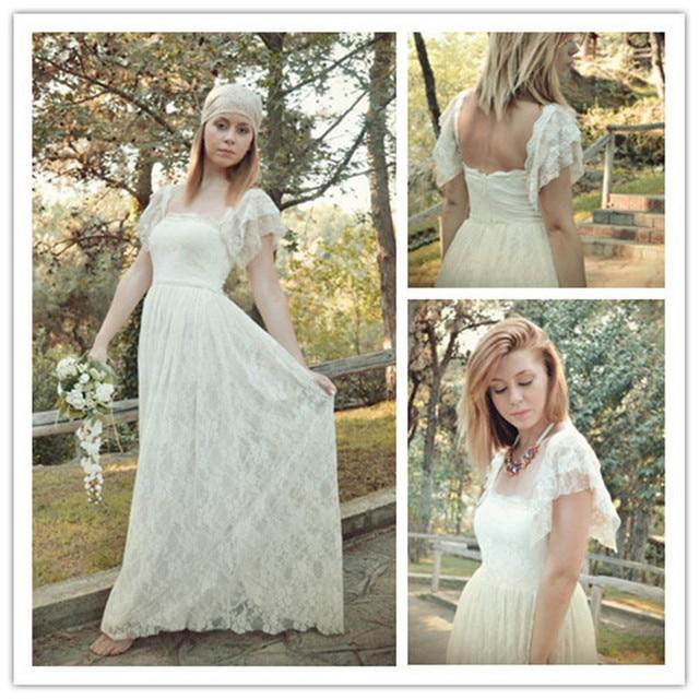 MANSA Bohemian Wedding Dress Ivory & Cream Lace Wedding Gown Long ...