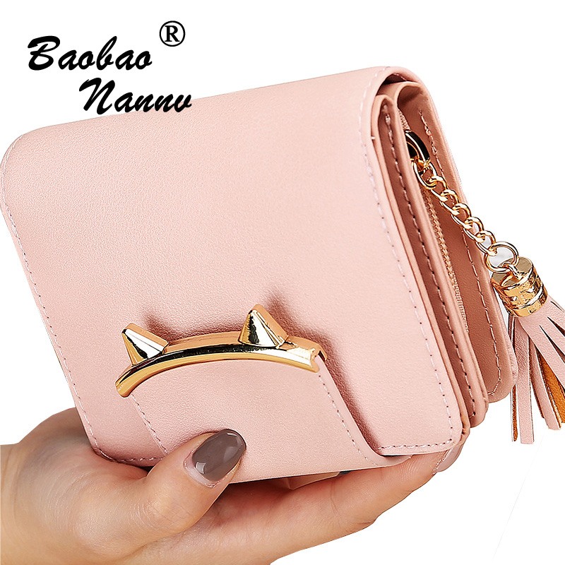 2019 Korean Cute Cat Anime Leather Tassels Trifold Slim Mini Wallet Women Small Clutch Female Purse Coin Card Holder Dollar Bag