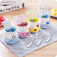 Cartoon Fruit Fork Set Ceramic Handle Stainless Steel Small Dessert Fork