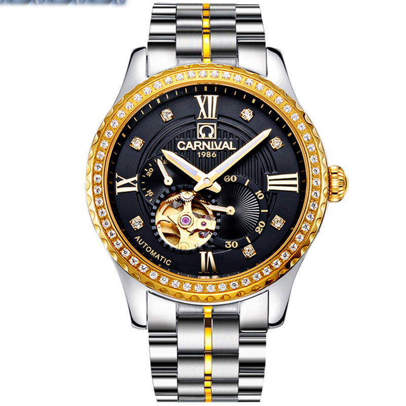 New Luxury Watch Top brand CARNIVAL Auto mechanical Watches Men Watch Hardlex 24 Hours Hollow Out Waterproof fashion Business