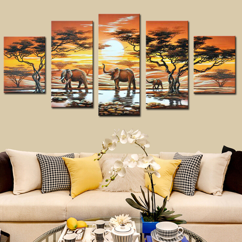 Hand Painted 5 Piece Canvas Art Elephant Live African Modern Abstract Oil Painting Unframed Canvas Artwork for Living Decoration
