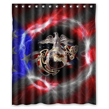 Christmas Decorations For Home United States Marine 160x180cm Waterproof Fabric Bathroom Shower Curtain