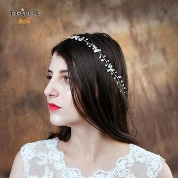 TOPQUEEN HP142 boda diadema, pelo de novia adorno de ornamentos de boda para el cabello de diamantes de imitación diadema de plata, accesorios para el cabello