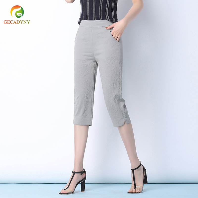Elastic Waist Women Harem   Pants     Capris   Summer Ice Silk Cotton Linen   Pants   Original Design Harem Trousers Women   Pants   Female