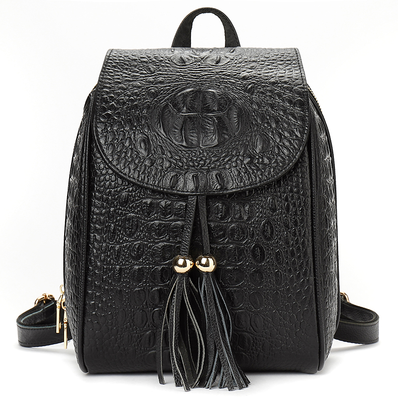 YILIAN bag bag 2018Genuine leather  fashion casual ladies  Cowhide crocodile pattern tassel backpack Travel bag 006