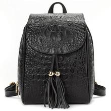 YILIAN bag 2018Genuine leather  fashion casual ladies Cowhide crocodile pattern tassel backpack Travel 006