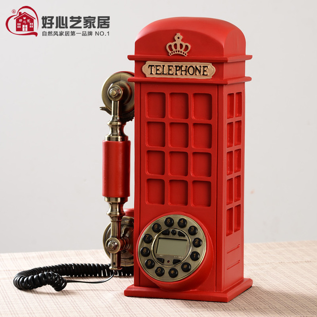 British Style Red Phone Booth Telephone Home Decoration Continental Coffee Bar Cafe