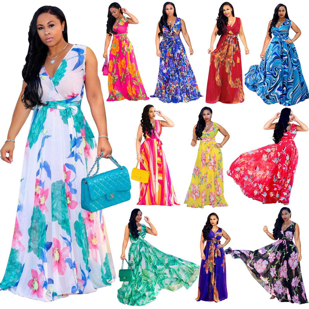 2019 Summer Women Maxi Dress Floral Print Chiffon Plus Size Boho Style Vestidos Elegant Beach Long Dress Big Size Dresses