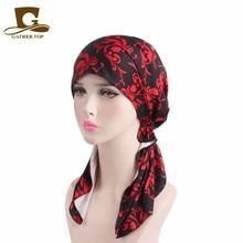 Új divat Női Pre Tied Bandana Turban Chemo Head Sál Alvás Hair Cover Hat Headwraps Rák Kalapok lány haj tartozékok