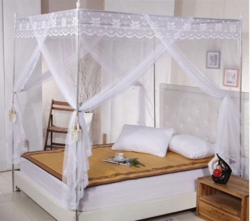 Lace 4 Corners Bed Canopy Mosquito Net Twin-XL Full Queen Cal King All Sizes & Lace 4 Corners Bed Canopy Mosquito Net Twin XL Full Queen Cal King ...