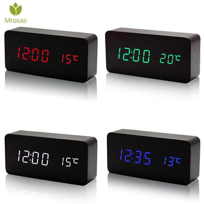 Mrosaa Soa Controle De Madeira LEVOU Despertador Relógio Eletrônico de Temperatura Digital Display LED relógio de Mesa Calendário de Mesa