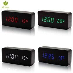 Mrosaa Wooden LED Alarm Clocks Temperature Electronic Clock Sounds Control Digital LED Display Desktop Calendar Table clock