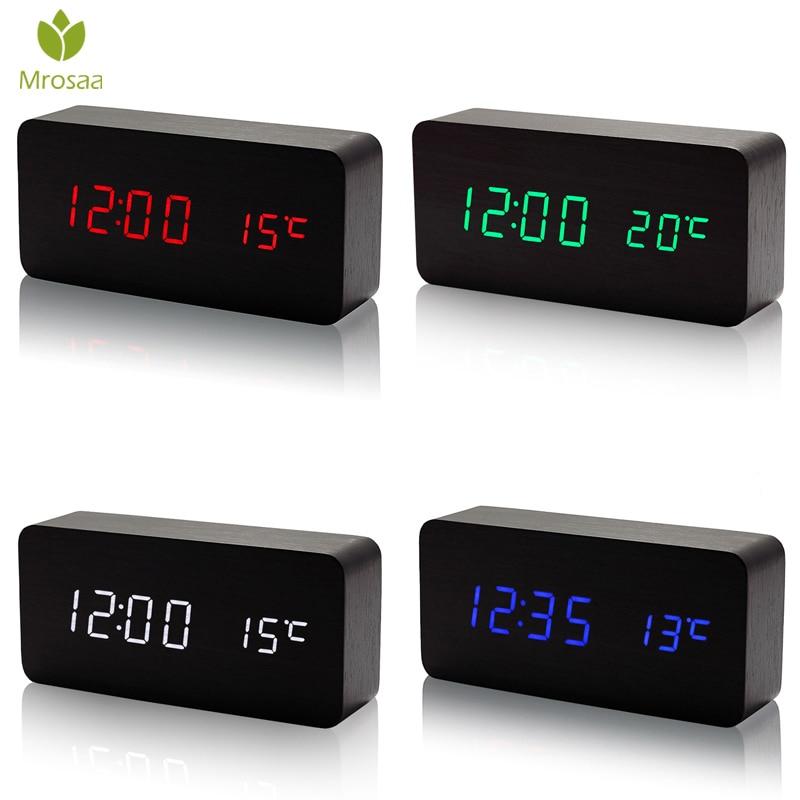 Mrosaa madera Despertadores LED temperatura reloj electrónico sonidos Control Digital LED Calendario de escritorio reloj de mesa