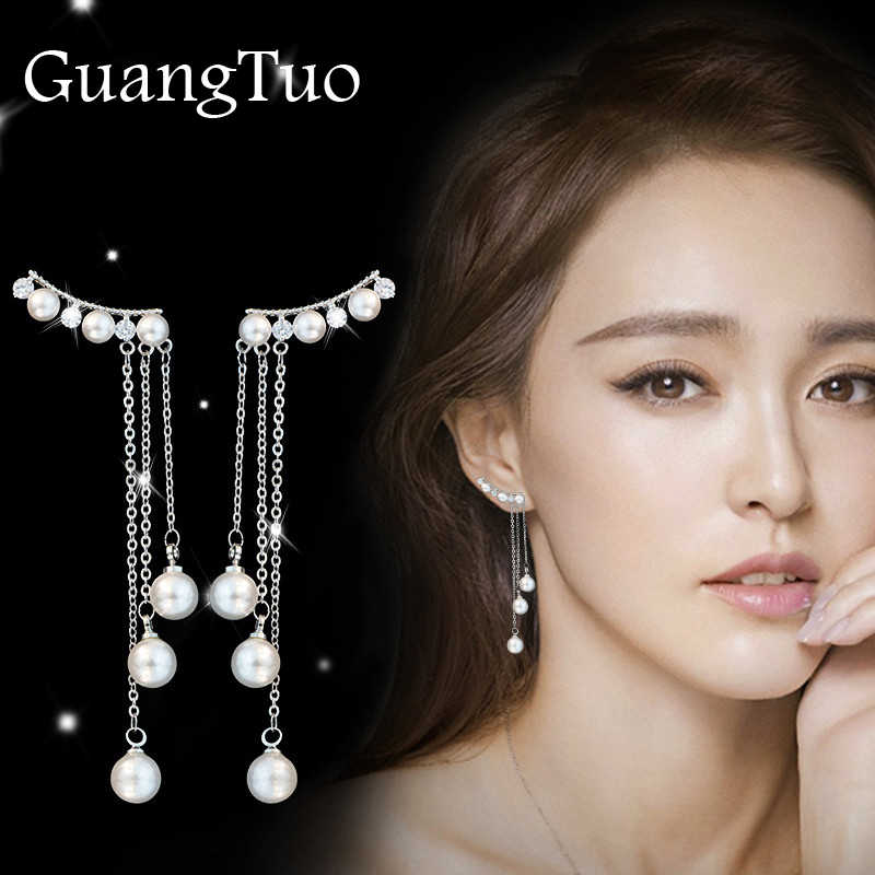 EK110 New Fashion Hyperbole Temperament  Elegant Long Drop Earrings for Women Female Tassel Simulated Pearl Pendant Earrings