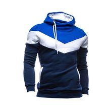 Hot Fashion Patchwork Men Hoodie Sweatshirt Patchwork Slim Warm Coat Pullover Hooded Outwear