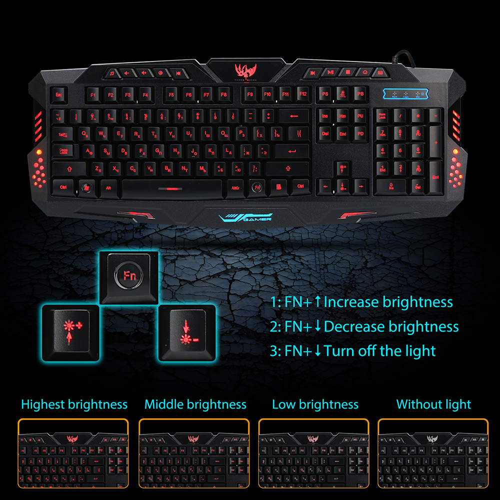 Image 4 - A877 Russian English Gaming Keyboard Wired USB Backlight LED Professiona Game Glowing Keyboard For Computer Mac Dota 2 LOL CS-in Keyboards from Computer & Office