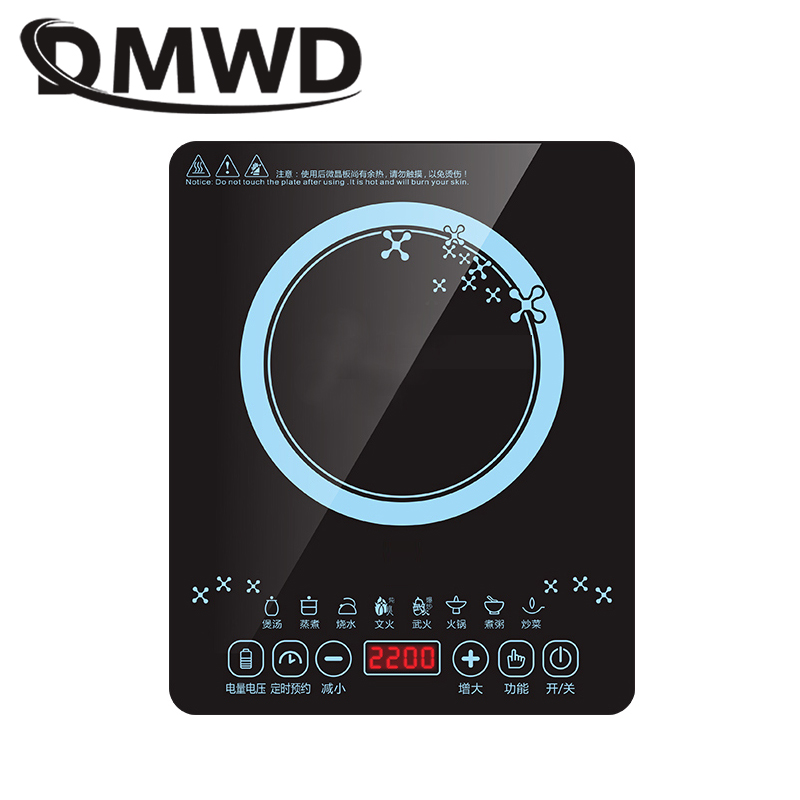 DMWD Electric Magnetic Induction Cooker Waterproof Hot Pot Oven Furnace Cooking Stove Kitchen Hotpot Heater Cooktop 2200W EU US kemei multifunction rechargeable 3 in 1 shaver kid s hair cut clipper beard trimmer electric nose ear hair trimmer tondeuse