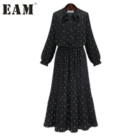 EAM 2017 New Autumn Round Neck Long Sleeve Solid Black Chiffon Dot Loose Big Size