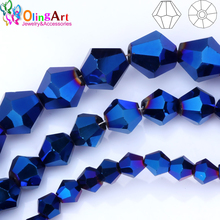 OlingArt 3mm/4mm/6mm/8mm Bicone Upscale Austrian crystals Plating blue color beads Loose bead bracelet DIY Jewelry Making