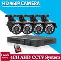 Sistema 4CH AHD CCTV Sistema de Cámaras de Seguridad de Vídeo 4*960 P HD Al Aire Libre impermeable 1.3mp CCTV conjunto de Cámaras de Seguridad con 1 TB HDD