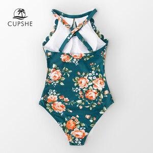 Image 4 - CUPSHE zielona w kwiaty zapiekanka jednoczęściowy strój kąpielowy kobiety wycinanka strój kąpielowy Monokini 2020 dziewczyna plaża kostiumy kąpielowe