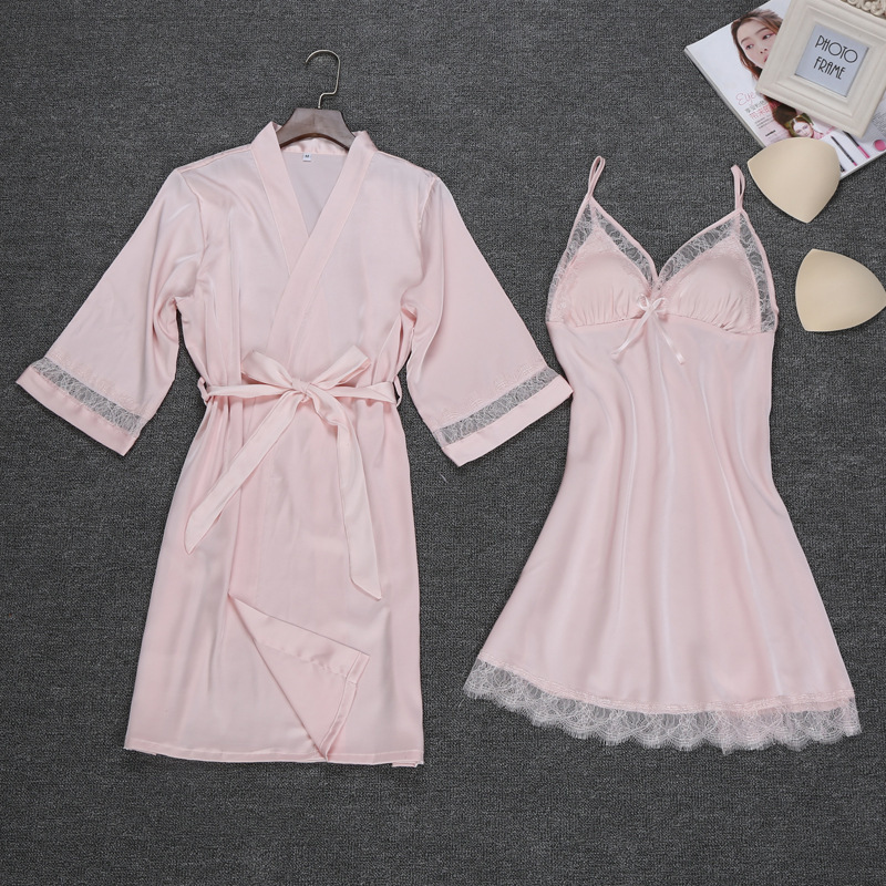 New Arrival sexy womens robe & gown sets twinest bathrobe + mini night dress two pieces sleepwear womens sleep set faux silk