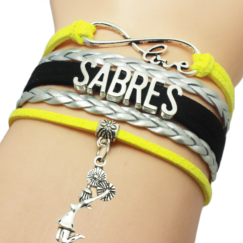 Buffalo Sabres Basketball Cheers Charm Pendant Bracelet Multi Layers Braid Bracelet Custom Girl Cheer Sport Bracelet