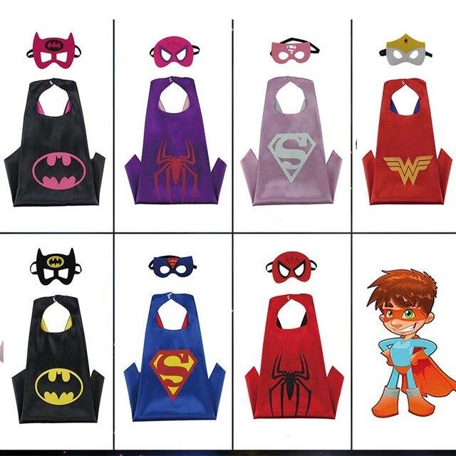 Aniversário dos miúdos Vestir Trajes Meninos Meninas Capa de Super-heróis com Máscara Duplo Manto Cosplay Festa de Ano Novo de Presente de Natal Das Crianças
