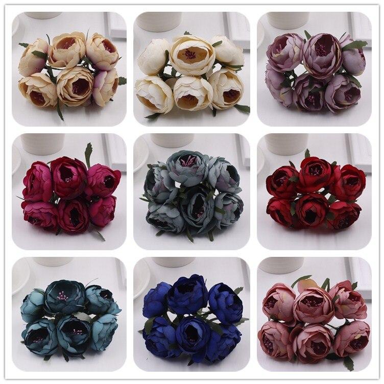 ed6a042cf48e4a 432 sztuk Europejskiej Jedwabiu Retro Camellia Rose Herbaty Kwiat Stroik  Ślubny Stanik Bukiet Kwiatów DIY Handmade Wieniec