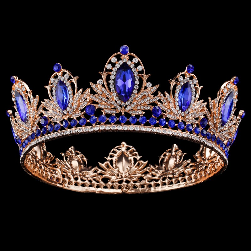 Vintage Luxury Large Baroque Blue Crystal Crowns Tiaras Queen Birdal Wedding Headband Hair Accessories Prom Party Hair Jewelry