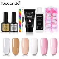 Ibcccndc Poly Gel Nails Reinforce French Manicure Rubber Top Coat Gel Nail Polish Hybrid Base Coat uv Gel Builder Polygel Nails
