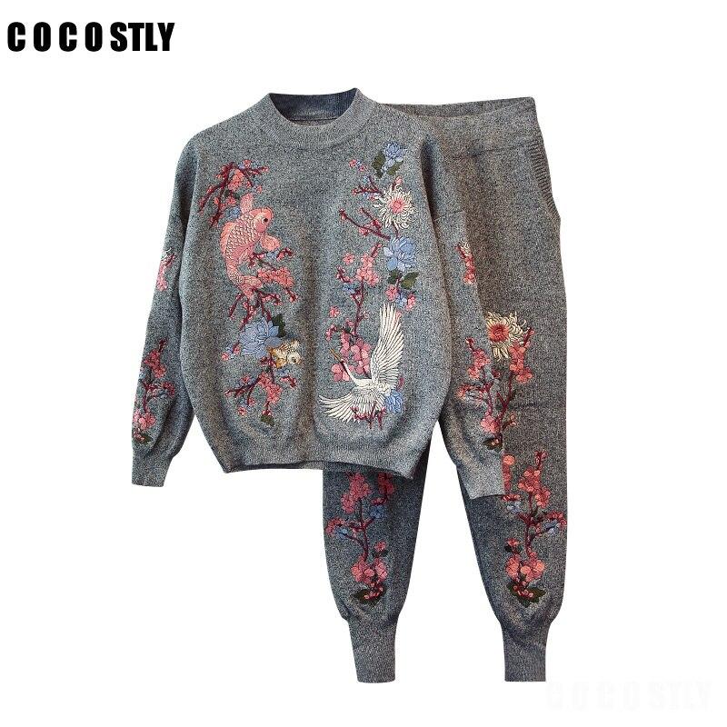 Высококачественные женские комплекты свитеров топ + длинные штаны трикотажный спортивный костюм зимний повседневный комплект из 2 предметов с вышивкой для женщин