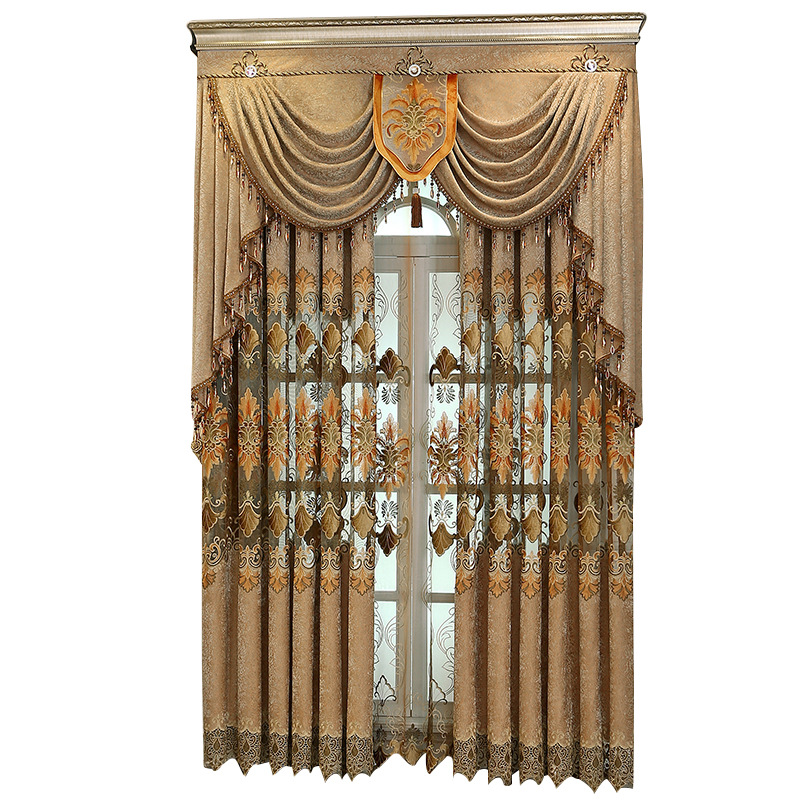 European Chenille Embroidered Brown Curtains Living Room Study Jacquard Hollowed Out Valance Curtains Home Decoration