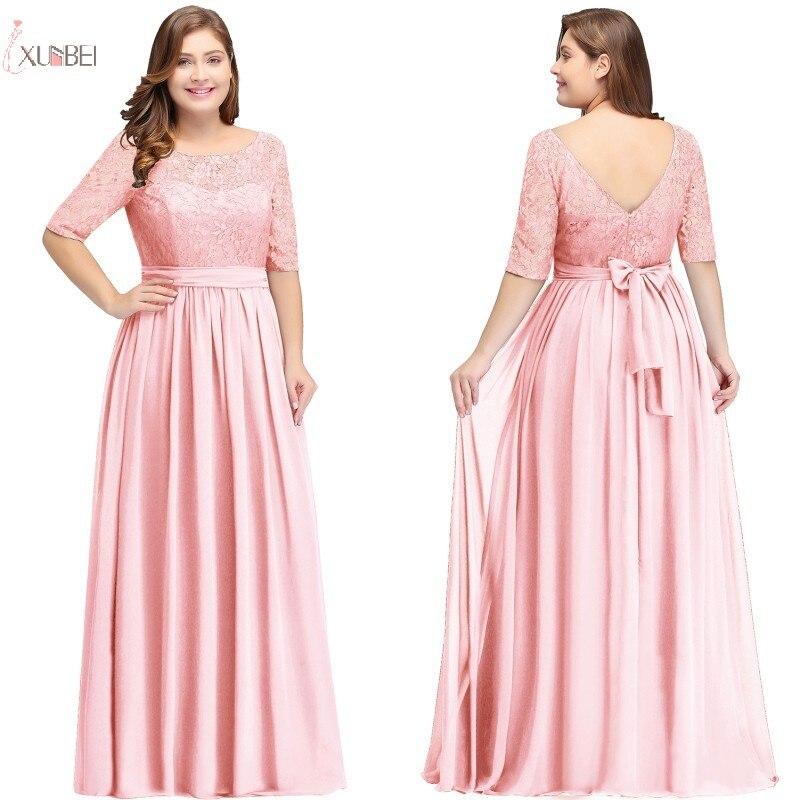 New Elegant Pink Chiffon Plus Size Long Evening Dress 2019 A Line Half Sleeve Evening Gown Robe De Soiree
