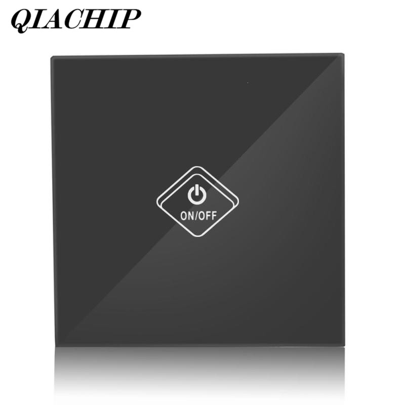 QIACHIP WiFi Smart Switch 1 Gang Light Wall Switch Supported Glass Panel APP Remote Control Work with Amazon Alexa Google B smart home us black 1 gang touch switch screen wireless remote control wall light touch switch control with crystal glass panel