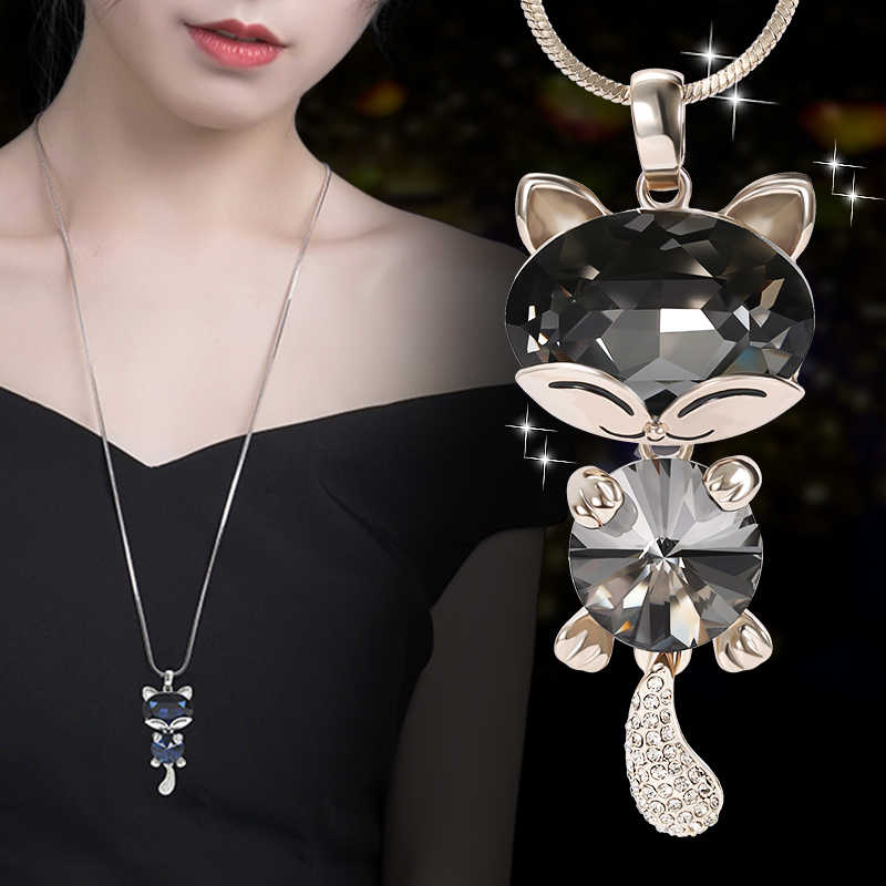 2018 New Arrival Women Pendant Necklaces Long Lovable Cat crystal Pendant Adorn The Simple Necklace