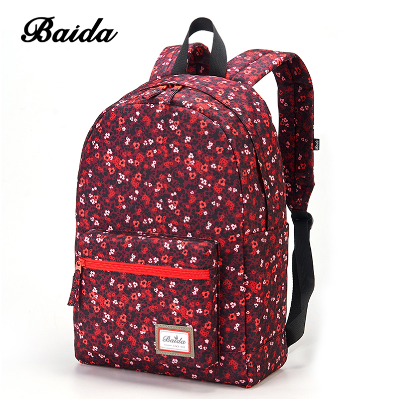 BAIDA Brand Fashion Red Floral Print Backpack Flower Pattern Women Daypack Teenage School Bags for Youth Girls College Rucksack high quality fashion rock band backpack for teenage women men casual daypack college student preppy school backpack travel bags