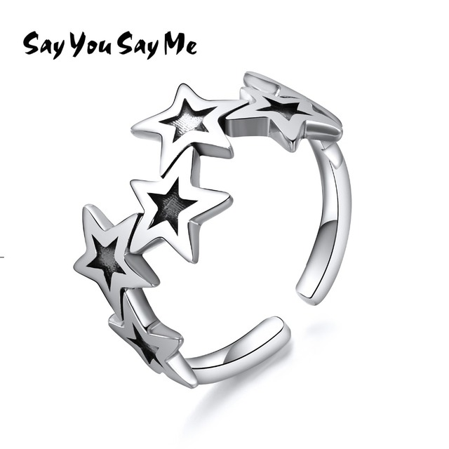 925 Sterling Silver Five-pointed Star Ring Wedding&Engagement Cuff Ring Silver W